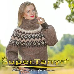 Icelandic hand knitted mohair sweater by SuperTanya®. Here you will findhand knitted mohair turtleneck ,crew neck ,V neck and othersweaters. Thick Sweaters, Hand Knitted Sweaters, Mohair Sweater, Brown Sweater, Women's Sweaters, Hand Knitting, Knitwear, Turtle Neck, Brown Beige