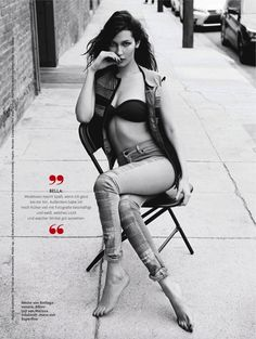 Bella Hadid models distressed denim style for the fashion feature for Glamour Germany Magazine May 2016 issue