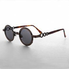 60s Mod Retro Round Circle Sunglass with Chain Bridge - Link Circle  Sunglasses, 60s Mod 1f80e871d8f0