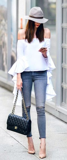 #summer #outfits Grey Hat + White Off The Shoulder Top + Ripped Skinny Jeans + Nude Pumps
