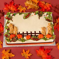 Fall Pumpkins and Cornstalks - Fall Pumpkin and Cornstalks - 6 Single Round Fall Theme Cakes, Fall Birthday Cakes, Birthday Sheet Cakes, Fall Cakes, Themed Cakes, Halloween Desserts, Halloween Cakes, Creative Cake Decorating, Cake Decorating Techniques