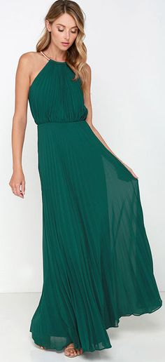 Emerald pleated maxi