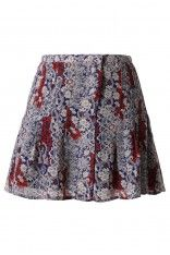 #Chicwish  Vine Floral Print Pleated Mini Skirt