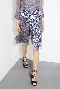 Delft Silk Skirt With Front Slit by Alexis Barrell