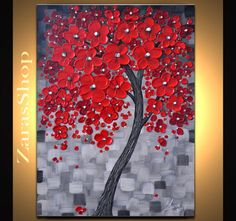 Original Contemporary Abstract landscape - thick impasto texture modern red cherry blossom tree palette knife painting on the stretched float canvas.