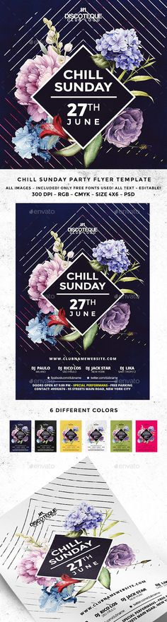 Chill Sunday Party PSD Flyer  Template • Only available here ➝ http://graphicriver.net/item/chill-sunday-party-flyer/16651858?ref=pxcr