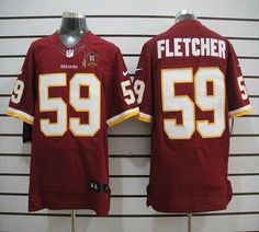 93c286a2c Nike Redskins  59 London Fletcher Burgundy Red Team Color With 80TH Patch  Men s Embroidered NFL