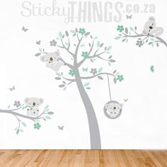 Our Koala Trees Wall Art Sticker has a large tree with cute koalas! This Koala Wall Decal also includes free delivery in South Africa and free butterflies. Girl Nursery Themes, Baby Boy Themes, Nursery Decor Boy, Baby Boy Nurseries, Baby Decor, Nursery Decals Girl, Nursery Wall Stickers, Nursery Wall Art, Koala Nursery