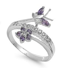Devi's Heart and Butterfly Amethyst Cubic Zirconia Fashion Ring