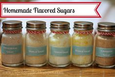 Homemade flavored sugars. Great gift idea plus fun for the kitchen. #sugar