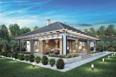 Projekt domu parterowego Madera II o pow. 132,2 m2 z obszernym garażem, z dachem kopertowym, z tarasem, z wejściem od południa, sprawdź! Design Your Dream House, House Design, Gazebo, Pergola, Modern Mediterranean Homes, Clinic Design, Smart Home, Bungalow, House Plans