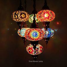 Handmade Turkish Moroccan Style Mosaic Hanging Lamp Ceiling Light 7 Large Globe