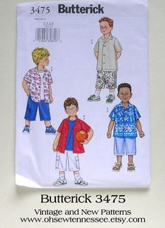 GOT THIS Butterick 3475  Boys' Shirts and Shorts