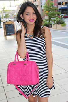 Pop of Pink! More at http://www.mytrendyheart.com/