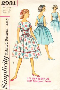 1950s Tween Girls' Bouffant Dress with V-Shaped Back Neckline and Midriff…