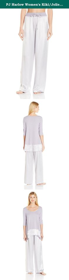 PJ Harlow Women's Kiki/Jolie, Lavender, Small. Pajama set - may be worn as pajamas or loungewear, our signature satin pant drapes beautifully against the body. Made with our whisper soft satin faille blend. 2 x 1 rib waistband with attached elastic, ensures a perfect fit. Also accompanies this outfit is our 3/4 swing tee with satin trim. The perfect outfit for sleeping or lounging.