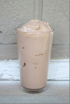 Protein shake that tastes like Wendy's Frosty!   3/4 cup (6 ounces) almond milk (or milk of your choice, she used unsweetened vanilla almond breeze by blue diamond) about 15 ice cubes, 1 scoop vanilla protein powder, 1-2 TB unsweetened cocoa powder, sweetener of choice (1/4 of a frozen banana or stevia).