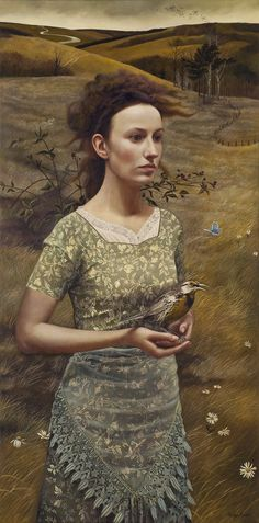 """This portrait reminds me of Cathy and the birds' nests on the moors of Wuthering Heights. Artist ~ Andrea Kowch """"Rural Sisters"""""""