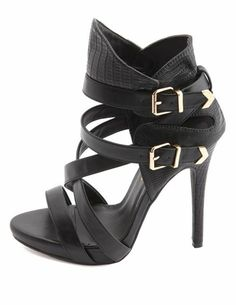 Metallic-Tipped Strappy Ankle Cuff Heel: Charlotte Russe