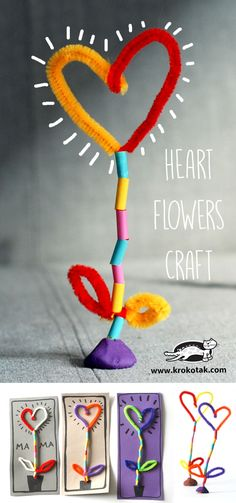 Cute Heart Flower Craft made of pipe cleaners