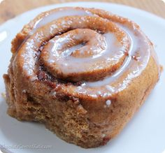 The perfect Sunday morning breakfast! Soft homemade cinnamon rolls stuffed with sweet pumpkin and cinnamon sugar, & the recipe is much easier to make than you might think! Recipe here: http://chocolatecoveredkatie.com/2013/10/22/pumpkin-cinnamon-rolls/