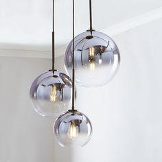 west elm Sculptural Glass Globe Chandelier – Clear ) - All For Decoration Modern Pendant Light, Glass Pendant Light, Pendant Light Fixtures, Pendant Lamps, Globe Pendant, Ceiling Pendant, Contemporary Light Fixtures, Light Fittings, 3 Light Chandelier