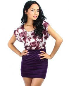 PURPLE SATIN CLOUD BANDAGE DRESS