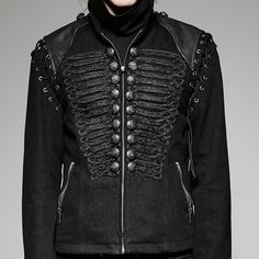 Jacke im Military Gothic Look mit Schnürungen | VOODOOMANIACS Steampunk, Shirts, Athletic, Fitness, Jackets, Outfits, Fashion, Stuff Stuff, Tatuajes