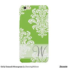 Girly Damask Monogram Glossy iPhone 6 Plus Case - A pretty white damask pattern over a spring green background embellished with a sheer ribbon and monogram. Sold at DancingPelican on Zazzle.