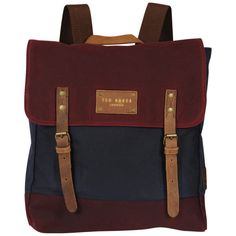 Ted Baker Blokruk Colour Block Waxed Canvas Rucksack - Dark Red ($130) ❤ liked on Polyvore featuring bags, backpacks, accessories, bolsas, purses, color block bags, waxed canvas rucksack, ted baker, rucksack bag and color block backpack