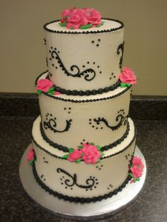 Black scroll and hot pink roses wedding cake by cupcakelane, via Flickr