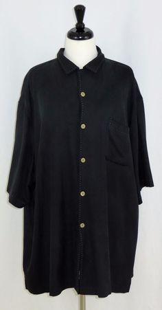 Nat Nast Black Silk Short Sleeve Camp Shirt Size XXL 2XL #NatNast #ButtonFront