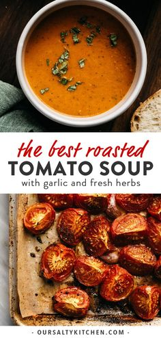 Roasted tomato soup is the perfect recipe for using garden ripe tomatoes. Fresh tomatoes and garlic are slow roasted for sweet, rich flavor. This easy homemade soup recipe is rich, creamy, and fuss-free. Summer Soup Recipes, Tomato Soup Recipes, Baby Food Recipes, Dinner Recipes, Cooking Recipes, Roast Tomato Soup Recipe, Roasted Tomato Soup, Roasted Tomatoes, Roasted Garlic