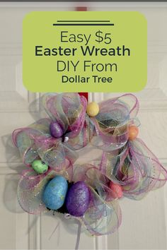 An Easter wreath with supplies from Dollar Tree! Simple, inexpensive, and a fun start to our Easter celebrations!