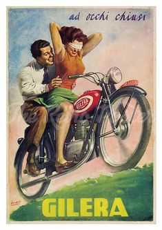 Gilera 150 Vintage Motorcycle Poster 1949 Blindfold