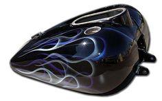Double Ghost Flames Blue & Silver on Black - Vivid Dragon Custom Paint Sets Custom Harleys, Custom Motorcycles, Custom Bikes, Custom Paint Motorcycle, Motorcycle Tank, Pinstripe Art, Old School Chopper, Candy Paint, Blue Flames