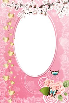 Pink Photo Frame with Gold Hearts