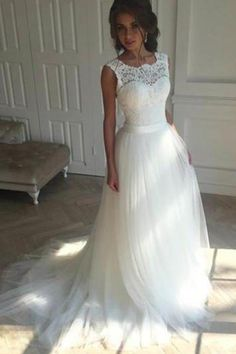 Beautiful Wedding Dresses A-line Short Train Ivory Tulle Bridal Gown W300 #Partydresses #promgowns #weddingdresses #Ombreprom #Promdresses #Formaldresses #everningdresses
