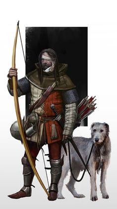 Archer and his hunt buddy – Hunting Ideas Warhammer Fantasy, Fantasy Rpg, Medieval Fantasy, Fantasy Artwork, Dark Fantasy, Armadura Medieval, Dnd Characters, Fantasy Characters, Fantasy Inspiration