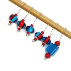 Blue Red Beaded Knitting Stitch Markers Set Snag by TJBdesigns, $7.50