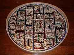 Glittery Tray: I started making mosaics a couple of years ago and now my tiny condo is filled with them. I have tried various types, from flower pots to trays to mirrors