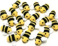 Hand Knitted Cute Little Bumble Bees Summer Toy Educational Decorative To Hang Or Use Around The Home Play