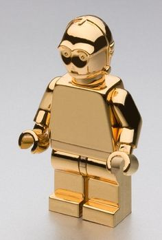 Gold Plated C3PO from chrome Lego minifigs and bricks. The Lego pieces are available from this link: http://www.bricklink.com/store.asp?p=ChromeBricks