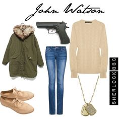 """""""John Watson"""" by gimarcondes on Polyvore Love it an outfit with a gun that goes with it!"""