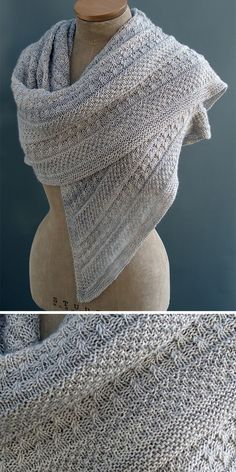 Knitting Pattern for Lichen and Moss Shawl - This textured triangular shawl is knit with sections of lichen stitch, moss stitch, reverse stocking stitch, and a wide central garter stitch panel… Knitting Blogs, Knitting For Beginners, Knitting Stitches, Free Knitting, Knitting Projects, Beginner Knitting Patterns, Knitting Humor, Knitting Designs, Moss Stitch