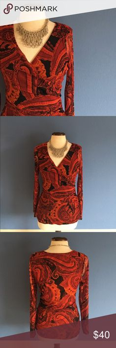 """INC Red Wrap Blouse You will look HOT in this red blouse.  The shape accentuates your curves.  The sleeves are sheer.  Pair with black pants or leggings for an amazing look. Material:  100% Nylon. Measurements (Flat):  Length - 26""""/Bust - 18""""/ Waist - 15"""" stretches. INC International Concepts Tops Blouses"""