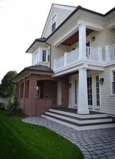Traditional Exterior Brick Design, Pictures, Remodel, Decor and Ideas - page 2 mixed material exterior Shutters Brick House, Brick Siding, White Siding, Black Shutters, Shingle Siding, Black Doors, Brick House Designs, Brick Design, Exterior Design