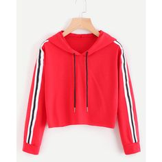 Contrast Striped Drawstring Hoodie (640 RUB) ❤ liked on Polyvore featuring tops, hoodies, red, red cropped hoodie, hooded sweatshirt, red hooded sweatshirt, red crop top and long-sleeve crop tops
