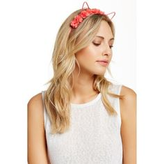 NOIR Flower Crown Cat Ear Headband ($6.97) ❤ liked on Polyvore featuring accessories, hair accessories, coral, floral garland, floral garland headband, head wrap headband, ribbon headband and flower garland headband