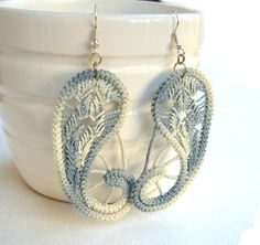 Romanian point lace gray earrings, paisley,  FREE SHIPPING
